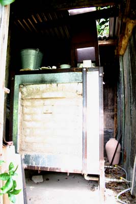 kiln shed during biscuit firing