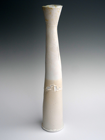 02 chalk beach scored porcelain split pod vessel 43 x 8cm