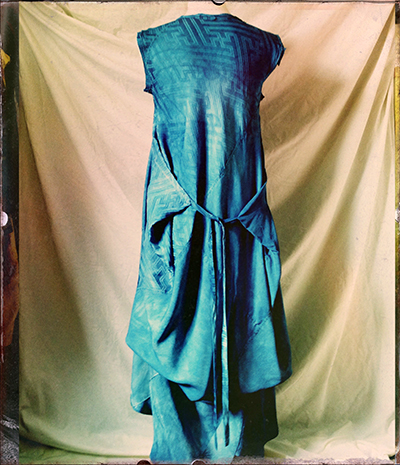 indigo vintage silk dress one back