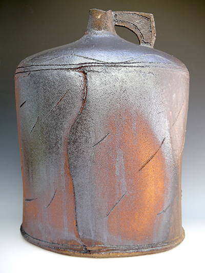 2 wood fired scored large flagon 52 x 40 cm