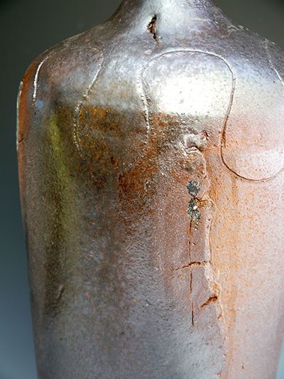 5 woodfired shino glazed large bottle detail
