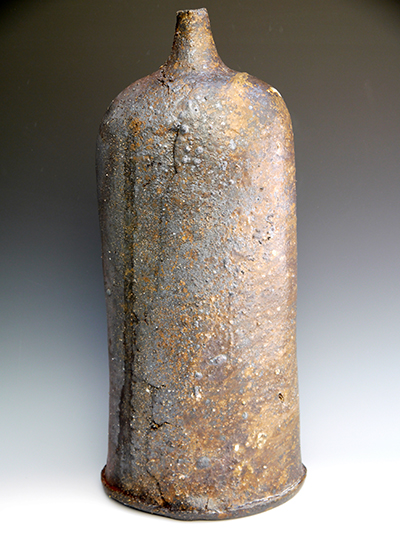 4 woodfired large bottle with ash deposit 55 x 25 cm
